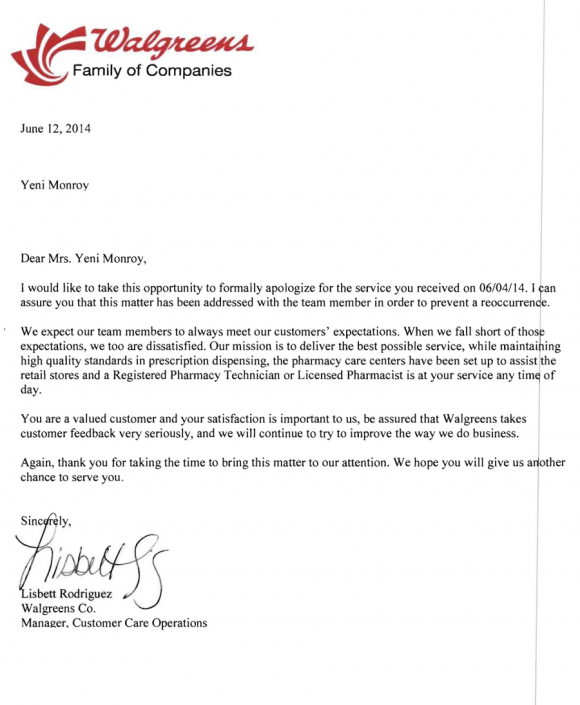 Walgreens Apology