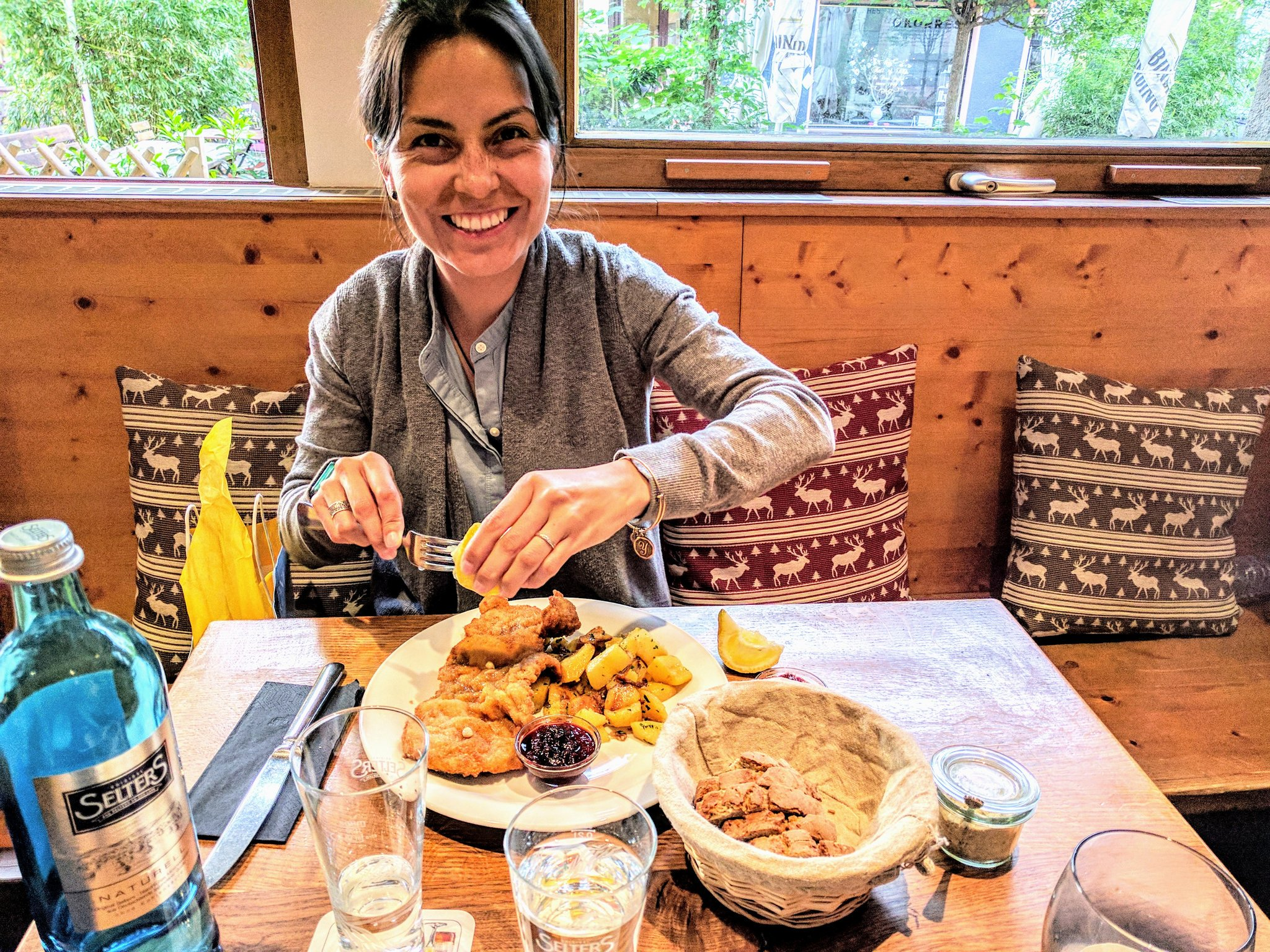 Yeni enjoying some amazing food in Germany