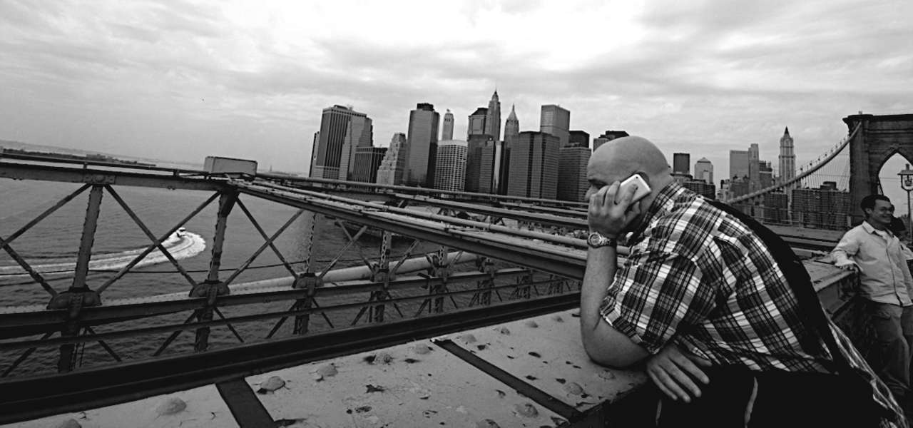 Fred on the Brooklyn Bridge