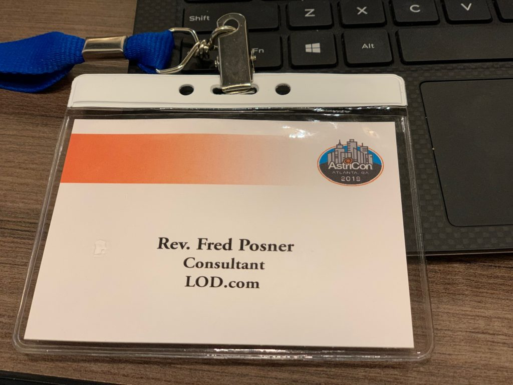 namebadge for the Reverend Fred Posner